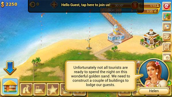 《 天堂岛 Paradise Island》是一个充满了阳光和海水的地方,你所有的游客终极的向往之地,也是你的机遇之地。在这里,你需要发展自己的商业帝国,来满足游客们最基本的 需求,并逐步提高你的层次,为游客们创造出更舒适的旅游环境。你可以创建各种娱乐中心,也可以开设赌场,餐厅和迪斯科舞厅来吸引他们消费。
